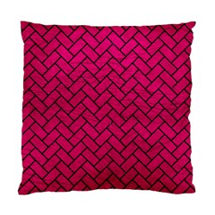 Brick2 Black Marble & Pink Leather Standard Cushion Case (one Side) by trendistuff
