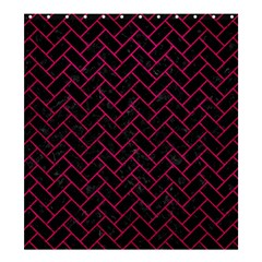 Brick2 Black Marble & Pink Leather (r) Shower Curtain 66  X 72  (large)  by trendistuff