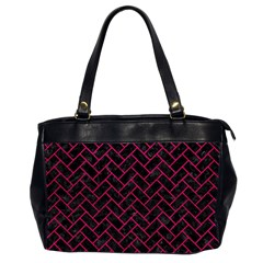 Brick2 Black Marble & Pink Leather (r) Office Handbags (2 Sides)  by trendistuff