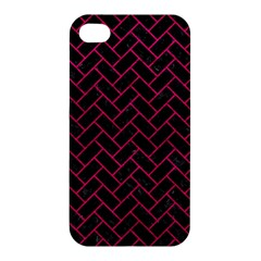 Brick2 Black Marble & Pink Leather (r) Apple Iphone 4/4s Premium Hardshell Case by trendistuff