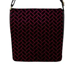 Brick2 Black Marble & Pink Leather (r) Flap Messenger Bag (l)  by trendistuff