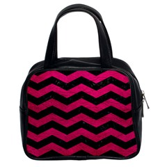 Chevron3 Black Marble & Pink Leather Classic Handbags (2 Sides) by trendistuff