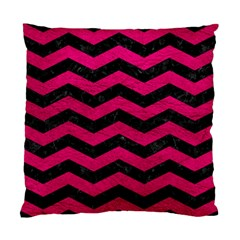 Chevron3 Black Marble & Pink Leather Standard Cushion Case (one Side) by trendistuff