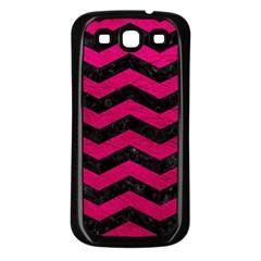 Chevron3 Black Marble & Pink Leather Samsung Galaxy S3 Back Case (black) by trendistuff
