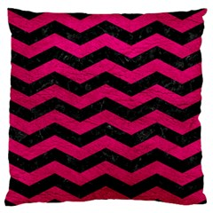 Chevron3 Black Marble & Pink Leather Standard Flano Cushion Case (two Sides) by trendistuff