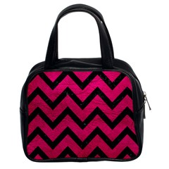 Chevron9 Black Marble & Pink Leather Classic Handbags (2 Sides) by trendistuff