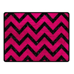 Chevron9 Black Marble & Pink Leather Double Sided Fleece Blanket (small)  by trendistuff