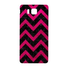 Chevron9 Black Marble & Pink Leather (r) Samsung Galaxy Alpha Hardshell Back Case by trendistuff