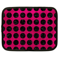 Circles1 Black Marble & Pink Leather Netbook Case (xl)  by trendistuff