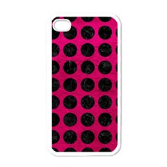 Circles1 Black Marble & Pink Leather Apple Iphone 4 Case (white) by trendistuff