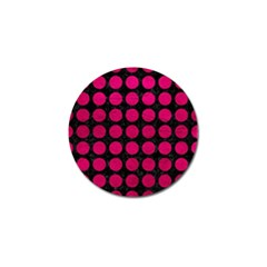 Circles1 Black Marble & Pink Leather (r) Golf Ball Marker by trendistuff