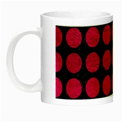 Circles1 Black Marble & Pink Leather (r) Night Luminous Mugs by trendistuff