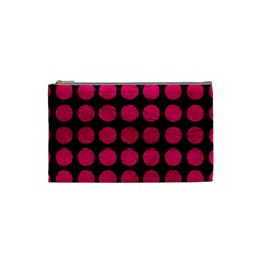 Circles1 Black Marble & Pink Leather (r) Cosmetic Bag (small)  by trendistuff
