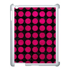 Circles1 Black Marble & Pink Leather (r) Apple Ipad 3/4 Case (white) by trendistuff