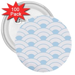 Blue,white,shell,pattern 3  Buttons (100 Pack)  by 8fugoso