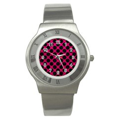 Circles2 Black Marble & Pink Leather Stainless Steel Watch by trendistuff
