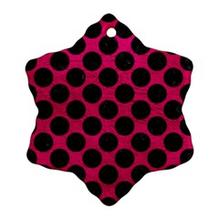 Circles2 Black Marble & Pink Leather Snowflake Ornament (two Sides) by trendistuff