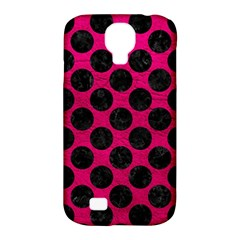 Circles2 Black Marble & Pink Leather Samsung Galaxy S4 Classic Hardshell Case (pc+silicone) by trendistuff
