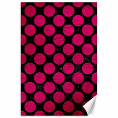 Circles2 Black Marble & Pink Leather (r) Canvas 24  X 36  by trendistuff
