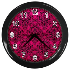 Damask1 Black Marble & Pink Leather Wall Clocks (black) by trendistuff