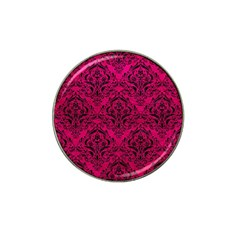 Damask1 Black Marble & Pink Leather Hat Clip Ball Marker by trendistuff