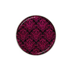 Damask1 Black Marble & Pink Leather (r) Hat Clip Ball Marker by trendistuff