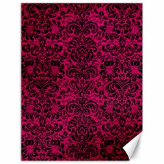 Damask2 Black Marble & Pink Leather Canvas 18  X 24   by trendistuff