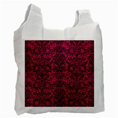Damask2 Black Marble & Pink Leather Recycle Bag (one Side) by trendistuff