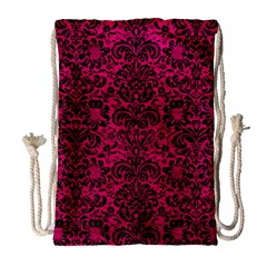 Damask2 Black Marble & Pink Leather Drawstring Bag (large) by trendistuff
