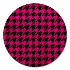 Houndstooth1 Black Marble & Pink Leather Magnet 5  (round) by trendistuff