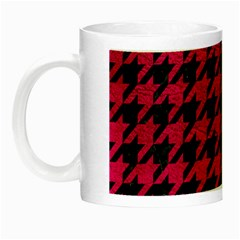 Houndstooth1 Black Marble & Pink Leather Night Luminous Mugs by trendistuff