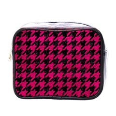 Houndstooth1 Black Marble & Pink Leather Mini Toiletries Bags by trendistuff