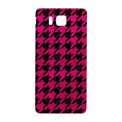 Houndstooth1 Black Marble & Pink Leather Samsung Galaxy Alpha Hardshell Back Case by trendistuff