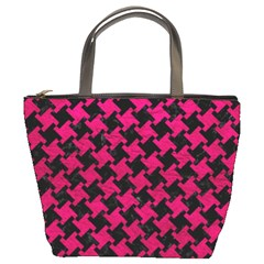 Houndstooth2 Black Marble & Pink Leather Bucket Bags by trendistuff