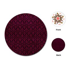 Hexagon1 Black Marble & Pink Leather (r) Playing Cards (round)  by trendistuff