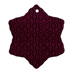Hexagon1 Black Marble & Pink Leather (r) Snowflake Ornament (two Sides) by trendistuff