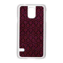 Hexagon1 Black Marble & Pink Leather (r) Samsung Galaxy S5 Case (white) by trendistuff