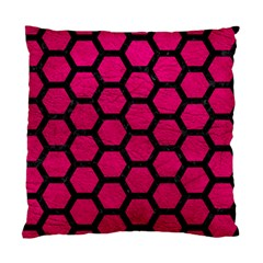 Hexagon2 Black Marble & Pink Leather Standard Cushion Case (one Side) by trendistuff