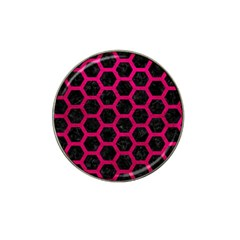 Hexagon2 Black Marble & Pink Leather (r) Hat Clip Ball Marker by trendistuff