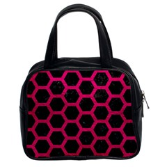 Hexagon2 Black Marble & Pink Leather (r) Classic Handbags (2 Sides) by trendistuff