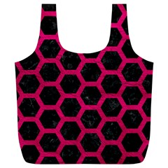 Hexagon2 Black Marble & Pink Leather (r) Full Print Recycle Bags (l)  by trendistuff