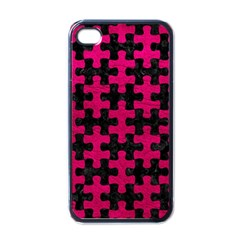 Puzzle1 Black Marble & Pink Leather Apple Iphone 4 Case (black) by trendistuff