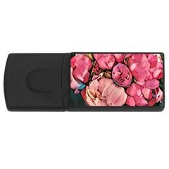 Beautiful Peonies Rectangular Usb Flash Drive by 8fugoso