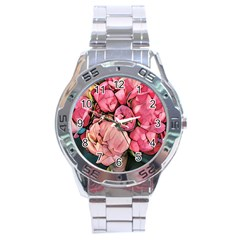 Beautiful Peonies Stainless Steel Analogue Watch by 8fugoso
