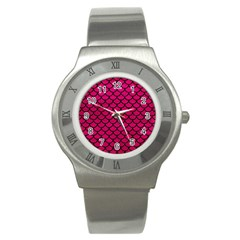 Scales1 Black Marble & Pink Leather Stainless Steel Watch by trendistuff