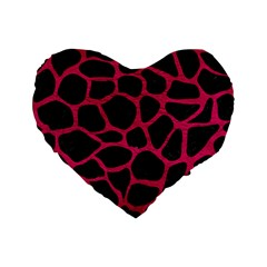Skin1 Black Marble & Pink Leather Standard 16  Premium Flano Heart Shape Cushions by trendistuff