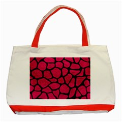 Skin1 Black Marble & Pink Leather (r) Classic Tote Bag (red) by trendistuff