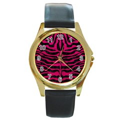 Skin2 Black Marble & Pink Leather (r) Round Gold Metal Watch by trendistuff