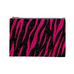 Skin3 Black Marble & Pink Leather (r) Cosmetic Bag (large)  by trendistuff
