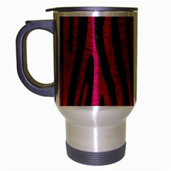 Skin4 Black Marble & Pink Leather Travel Mug (silver Gray) by trendistuff